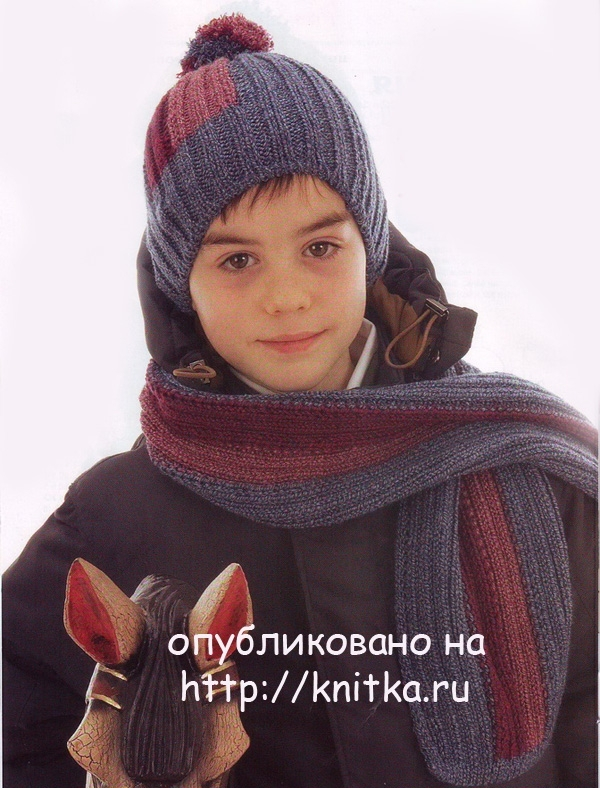 Шапки и шарфы для мальчиков вязание 153