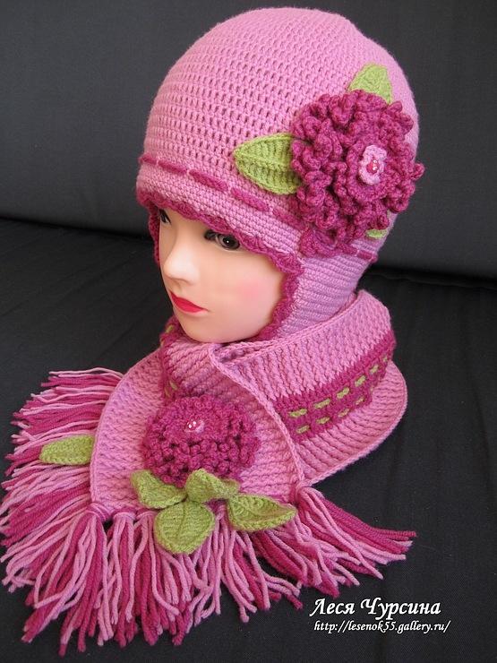 Вязание осенней шапки для девочек 68