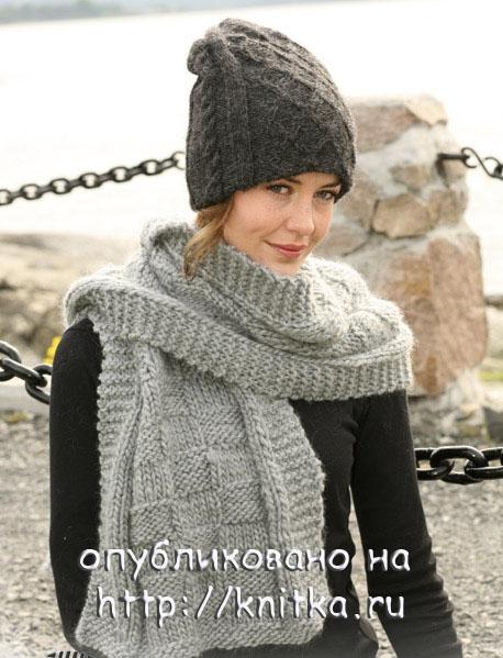 Вязаная шапочка и шарф из Дропс