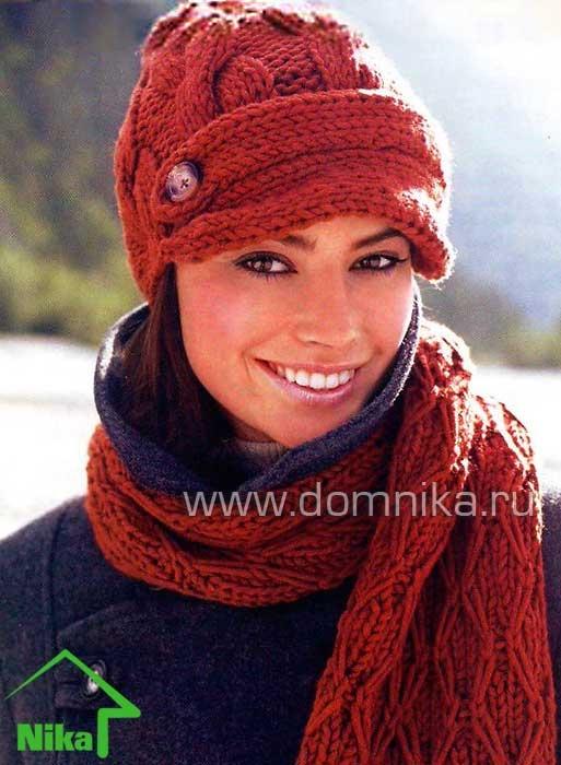 Вязание спицами. Шапка + шарф.