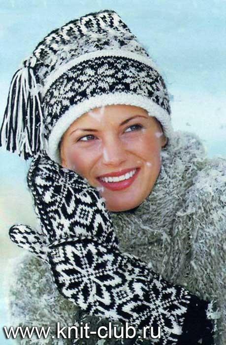 Вязаная шапка и варежки с норвежским узором