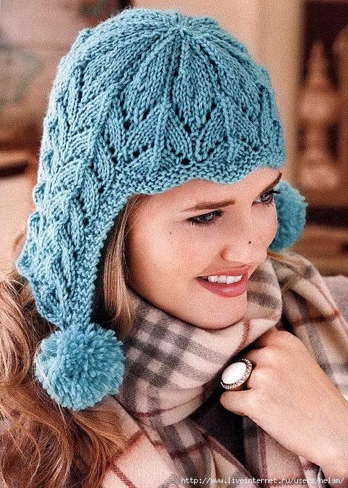 Ажурная шапка-ушанка с помпонами!