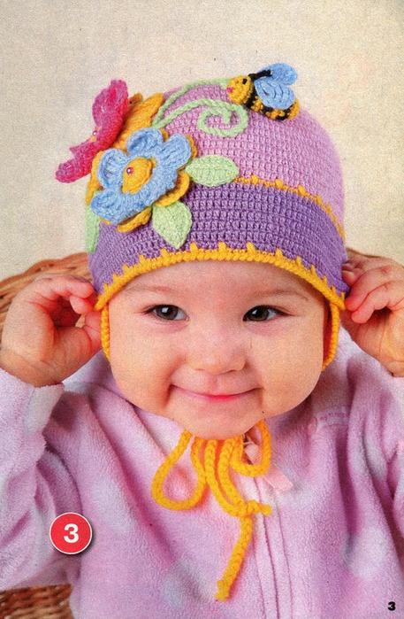 Весенняя вязаная шапочка для девочки.
