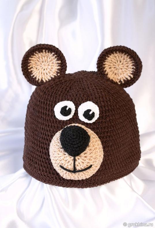 Шапочка-медвежонок крючком