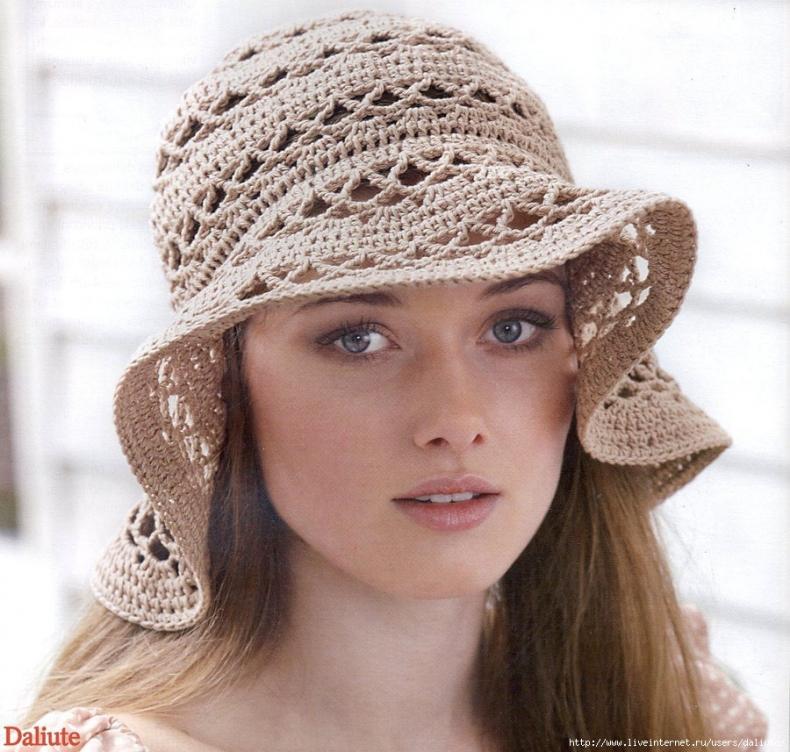 Летняя вязаная шляпа - панама.