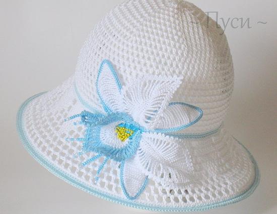 Вязаная шляпа - панама с