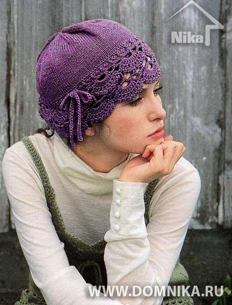 Очень красивая летняя вязаная шапочка из японского журнала. Такая нежная и женственная вязаная шапка прекрасно подойдёт для юных девушек и девочек
