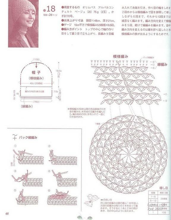 Схема вязания узора шапок крючком для