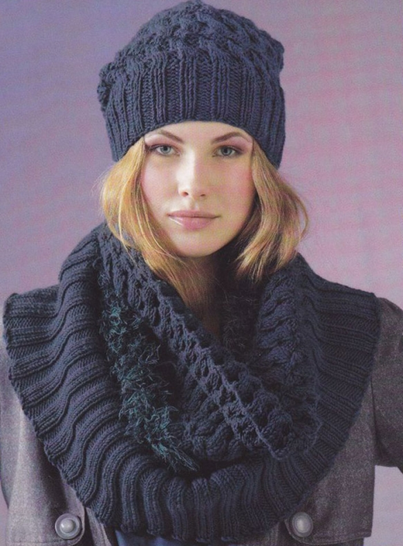 Модный шарф снуд и шапочка