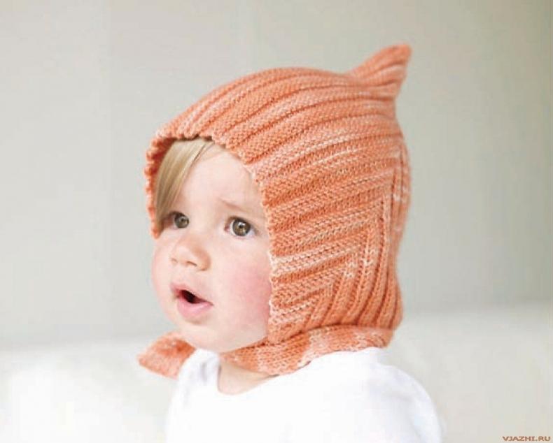 Изображение Детская вязаная шапочка спицами из коллекции вязаные спицами детские шапочки на сайте Пинми.ру