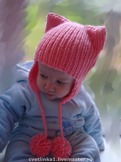 Вязание спицами для детей шапки на 6 месяцев
