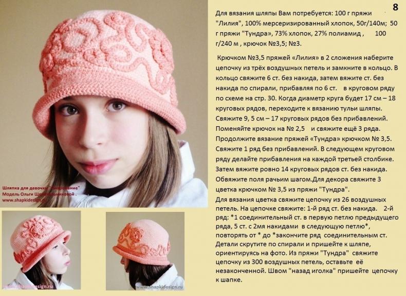 """Вязаная шляпа для девочки """"Очарование"""""""
