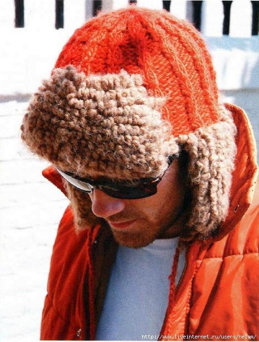Мужская вязаная шапка-ушанка.