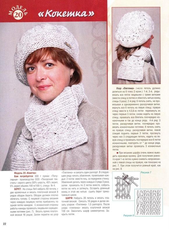 Вязание на спицах шапка или берет