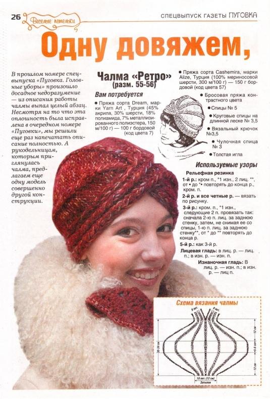 Вязание шапки - чалмы.