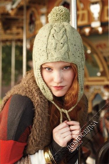 как связать шапку для девочки с ушками и помпонами спицами