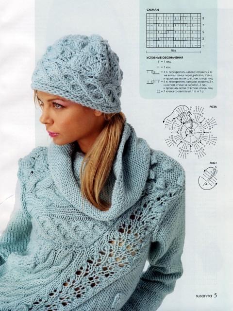 Голубой комплект: шапка + свитер.