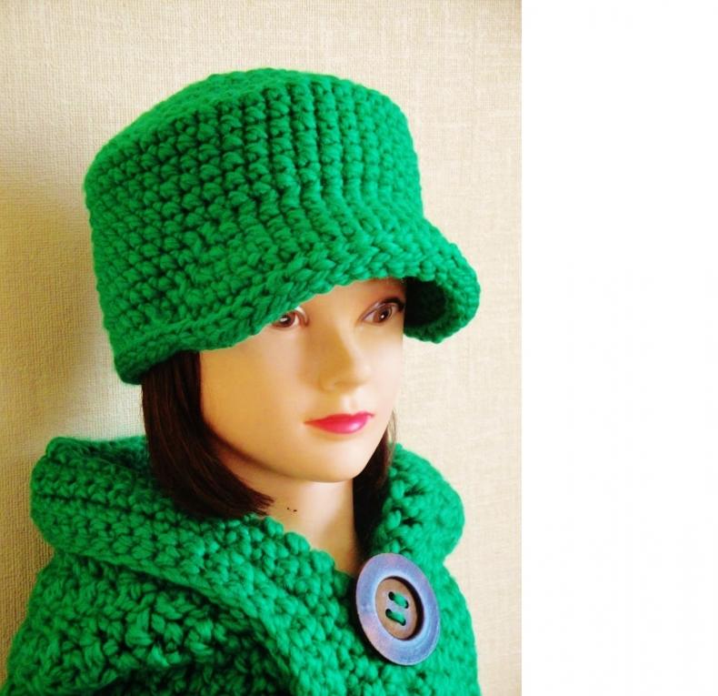 Вязанье шапочка с козырьком