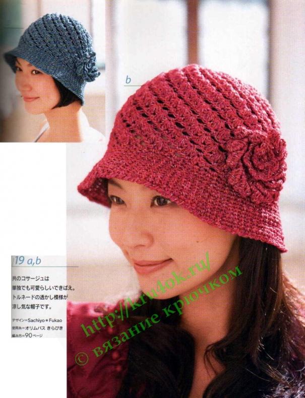 Летняя вязаная шляпа №3