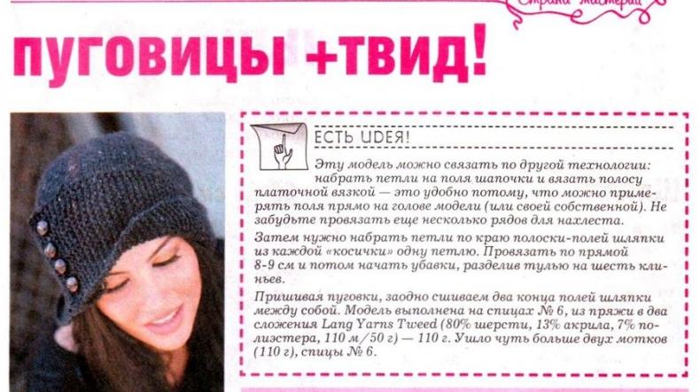 Вязание для женщин шапки схема