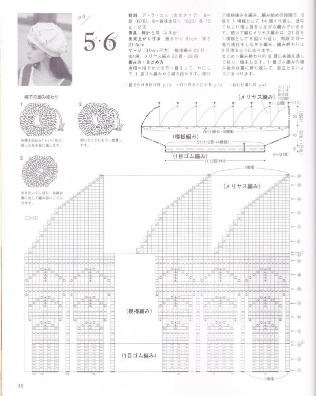 Вязаный берет спицами из японского журнала.