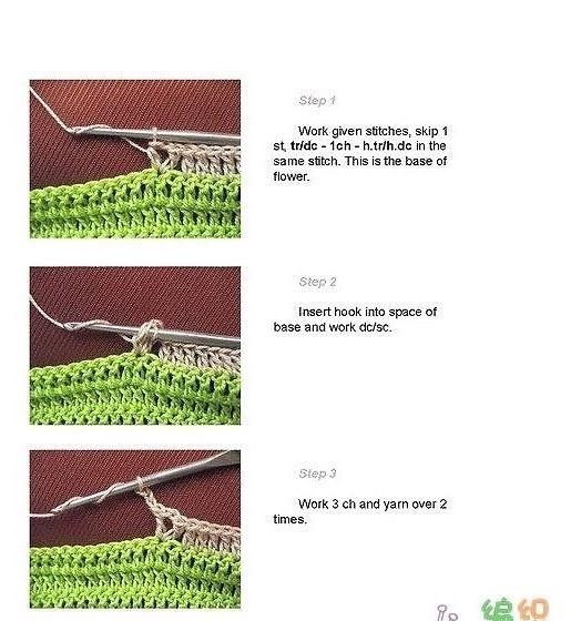 МК по вязанию цветочного узора крючком.