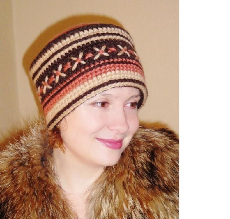 вязаная шапка кубанка Аксинья